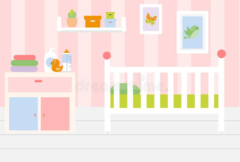 Interior del sitio del cuarto de niños Apartamento en muebles rosados del color y blancos Diseño del dormitorio del bebé con la c ilustración del vector
