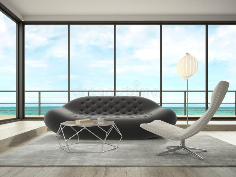 Interior del sitio de diseño moderno con la representación de la opinión 3D del mar fotografía de archivo