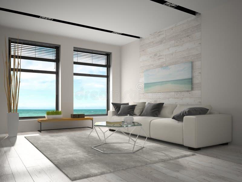 Interior del sitio de diseño moderno con la representación de la opinión 3D del mar fotografía de archivo libre de regalías