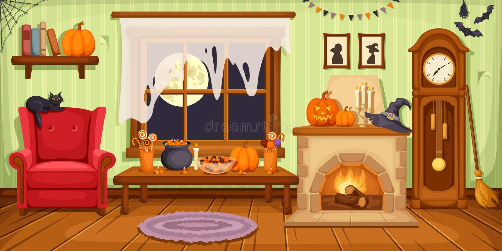 Interior del sitio de Halloween Ilustración del vector libre illustration