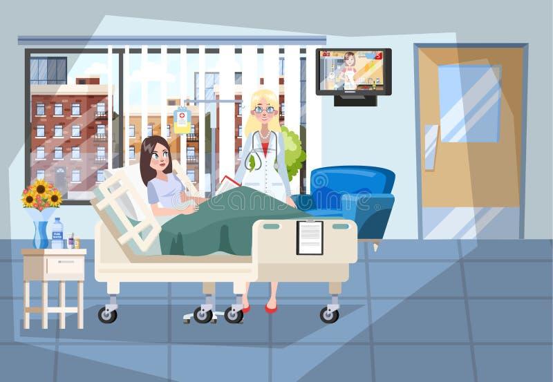 Interior del sitio de hospital Mentira paciente en la cama stock de ilustración