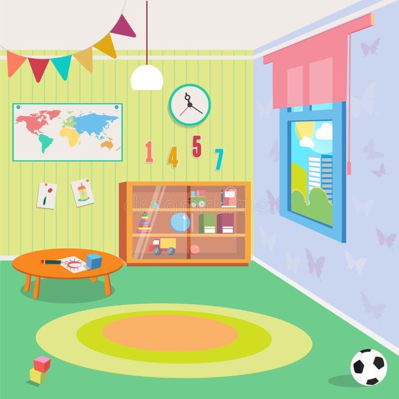 Interior del sitio de la guardería con los juguetes stock de ilustración