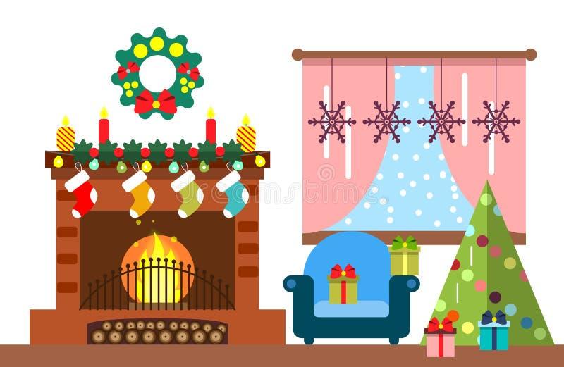 Interior del sitio de la Navidad Árbol de navidad y decoración Regalos y chimenea Ejemplo plano del estilo stock de ilustración