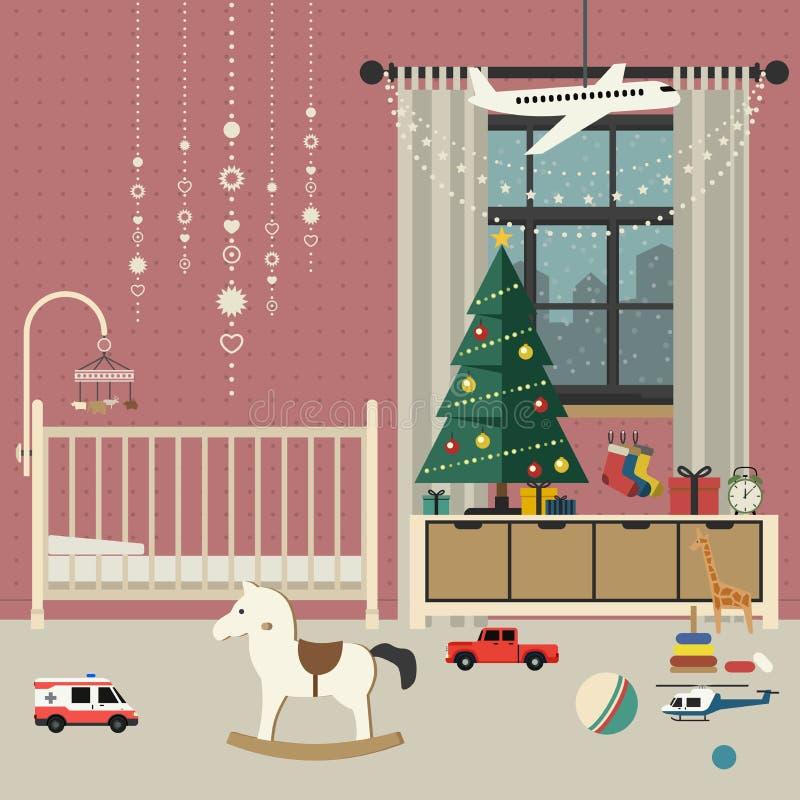 Interior del sitio del bebé de la Navidad ilustración del vector