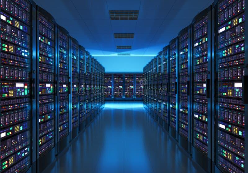 Interior del sitio del servidor en datacenter ilustración del vector