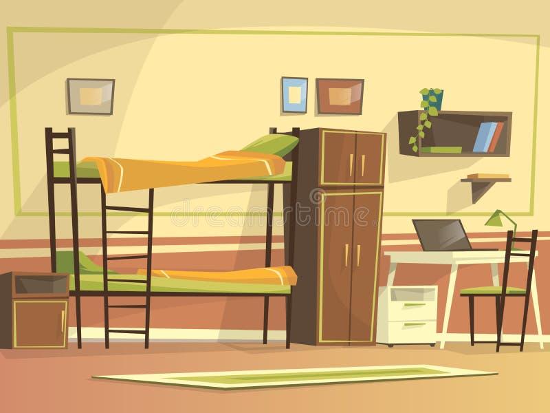 Interior del sitio del dormitorio del estudiante de la historieta del vector ilustración del vector