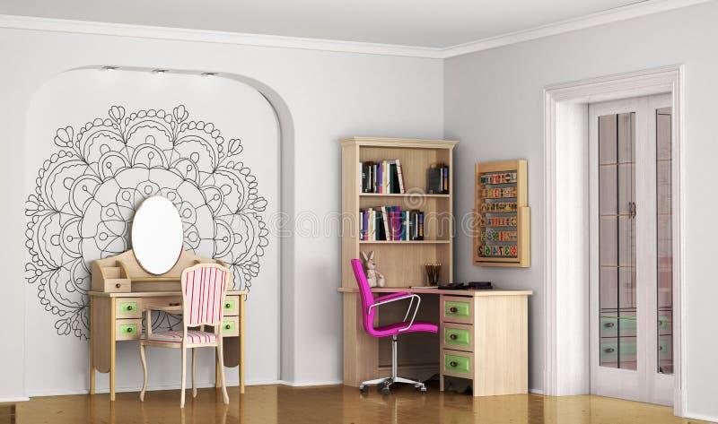 Interior del sitio elegante moderno para el adolescente stock de ilustración