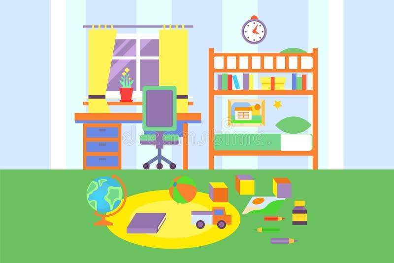 Interior del sitio del muchacho del preescolar o del estudiante de la escuela, dormitorio con los juguetes, cama, estante, libros stock de ilustración