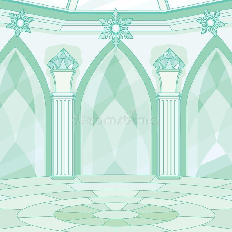 Interior del sitio del trono de la reina de la nieve stock de ilustración