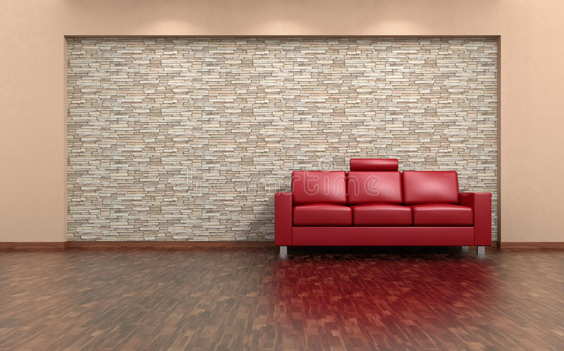 Interior del sofá rojo y de la pared de piedra imagen de archivo libre de regalías