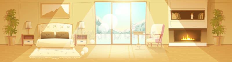 Interior del vector del dormitorio del hotel, centro turístico del invierno stock de ilustración