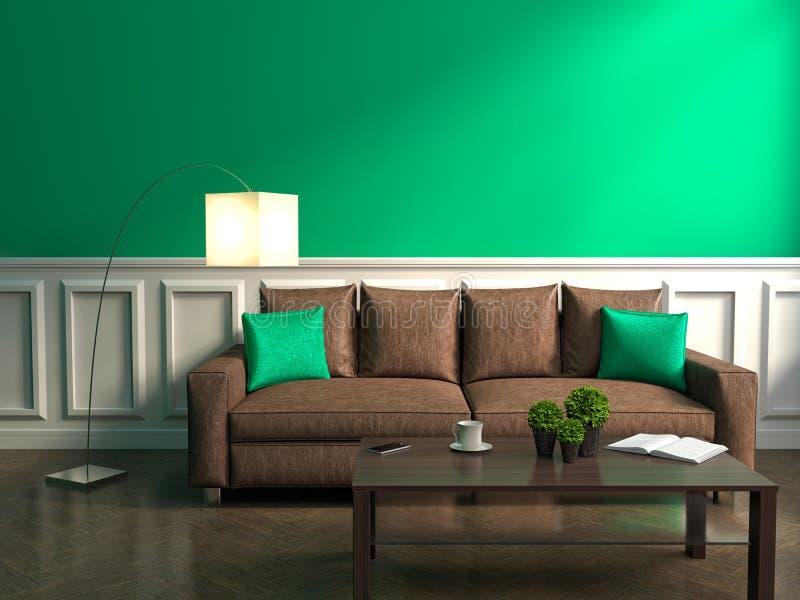 Interior del verde con el sofá, la lámpara y la tabla ilustración del vector