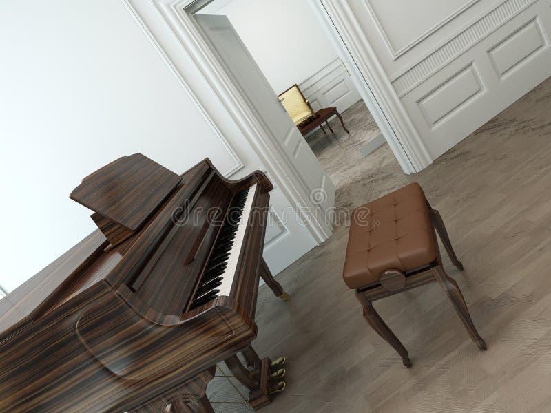 Interior del vintage con un piano de cola clásico ilustración del vector