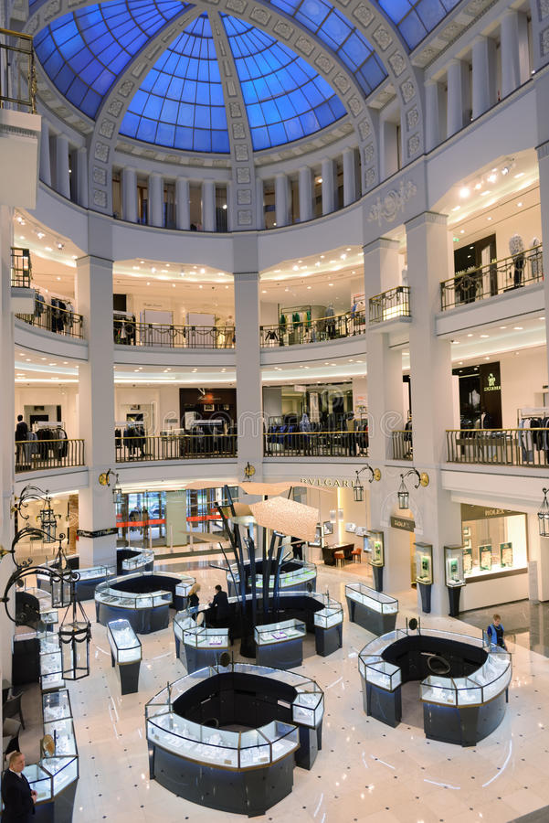 Interior of department store DLT in St. Petersburg, Russia during Summer. Style. Festival. St. Petersburg, Russia - May 20, 2016: Interior of the department stock image