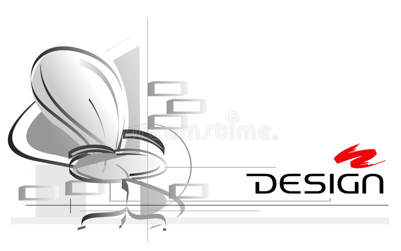 Attractive Interior Design Vector Illustration With Office Chair On Foreground