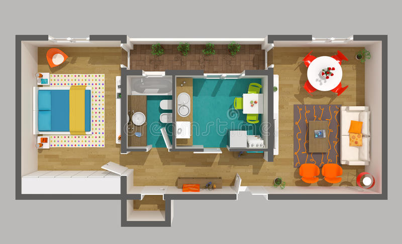Interior design - 3d home project: small apartment stock illustration