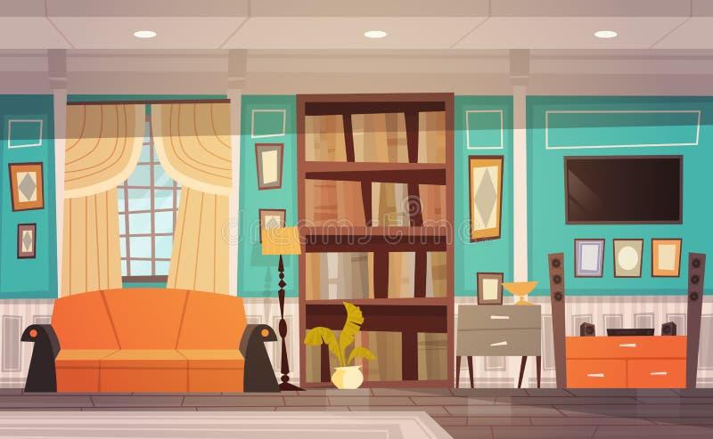 Interior design accogliente del salone con mobilia, la finestra, il sofà, lo scaffale e la TV illustrazione vettoriale