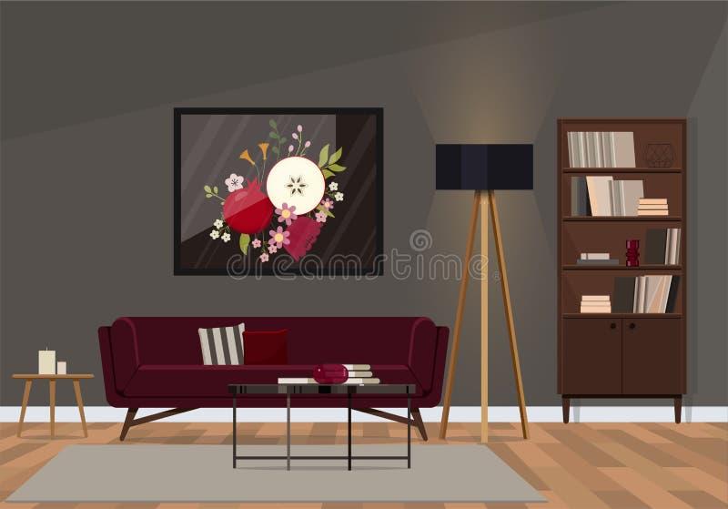 Interior design alla moda con un sofà del velluto di colore vermiglio illustrazione di stock