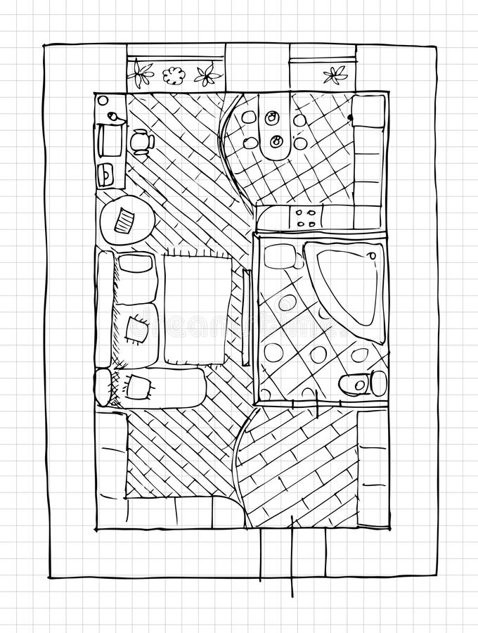 Interior Design Apartments - Top View Stock Photography