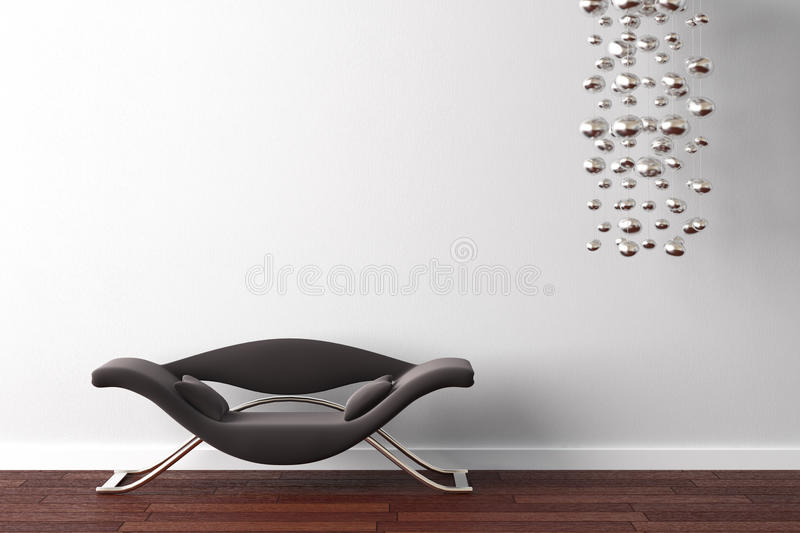 Interior design armchair and lamp royalty free illustration
