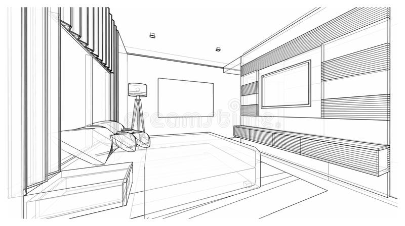 Interior design : bedroom stock image