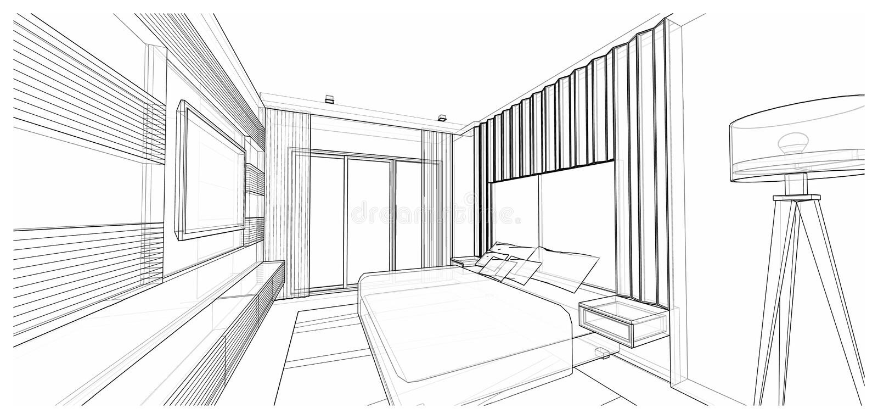 Interior design : bedroom royalty free stock photo