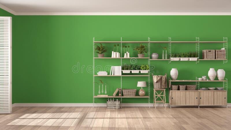 Scaffalature In Legno Per Libri.Interior Design Bianco E Verde Con Lo Scaffale Per Libri Di Legno