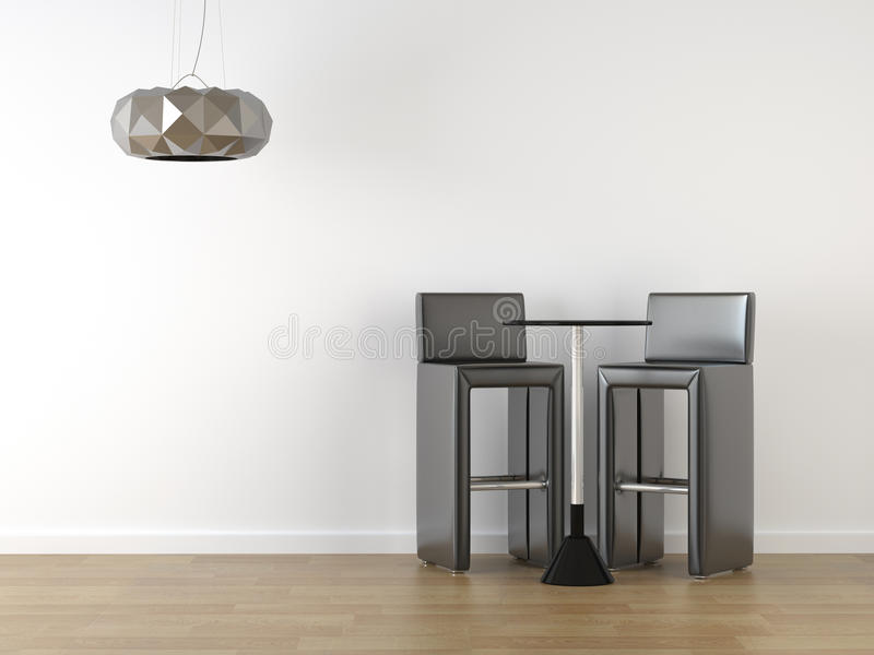 Interior design black stools on