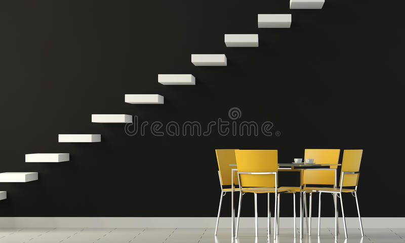 Interior design black wall stock illustration