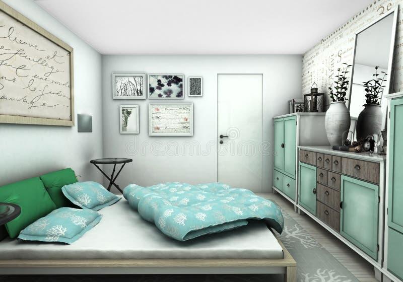Interior design blu e verde della camera da letto illustrazione vettoriale