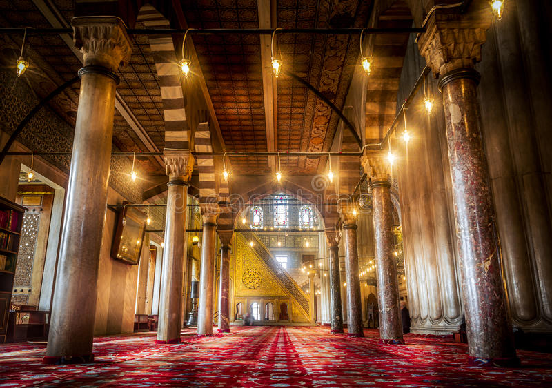 Interior design of the Blue Mosque in Istanbul, Turkey stock photos
