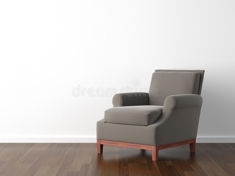 Interior design brown armchair. Interior design of brown armchair against a white wall with copy space stock illustration