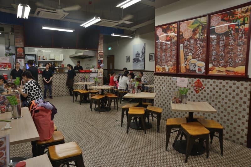 Interior design cinese del ristorante di Macao fotografia stock libera da diritti
