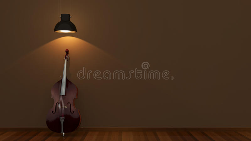 Interior design with classical contrabass royalty free stock photo