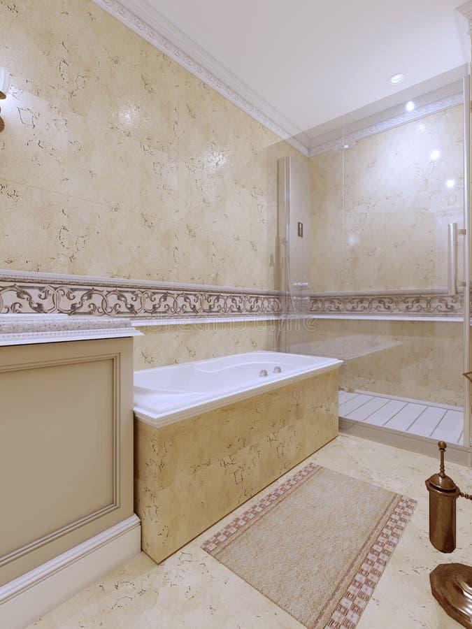 Interior design classico luminoso del bagno in grande casa di lusso con i gabinetti di legno beige royalty illustrazione gratis