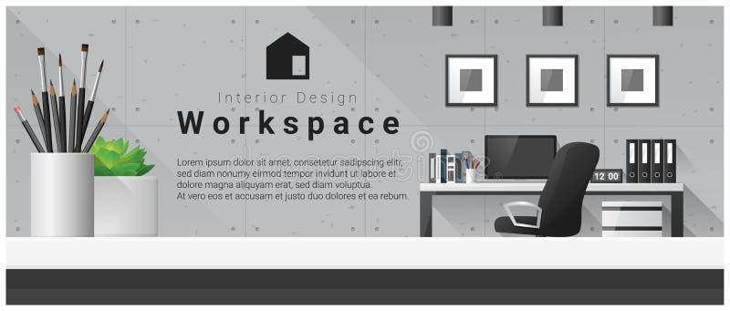 Interior design con il piano d'appoggio ed il fondo moderno del posto di lavoro dell'ufficio illustrazione vettoriale