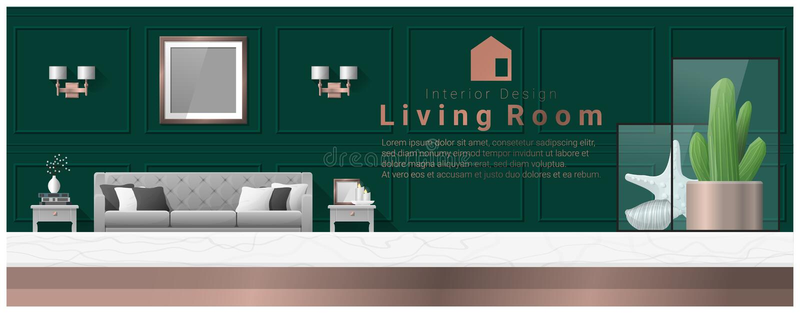 Interior design con il piano d'appoggio ed il fondo moderno del salone royalty illustrazione gratis