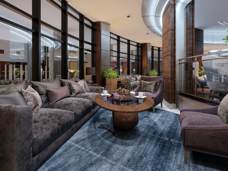 Interior design contemporaneo dell'hotel, ingresso dell'hotel, area di riposo con mobilia moderna comoda royalty illustrazione gratis
