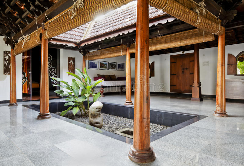 Interior Design Of Courtyard In Kerala Bungalow Stock