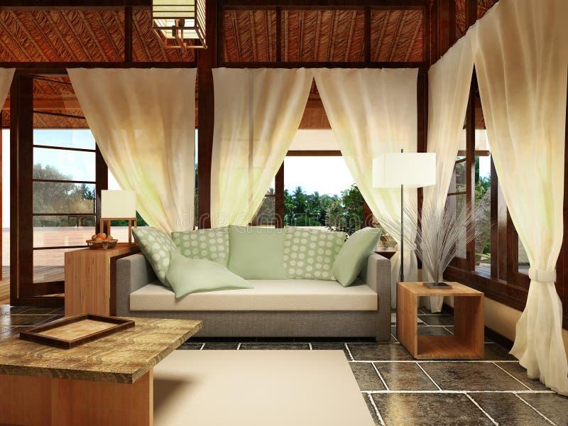 Interior design del bungalow illustrazione vettoriale