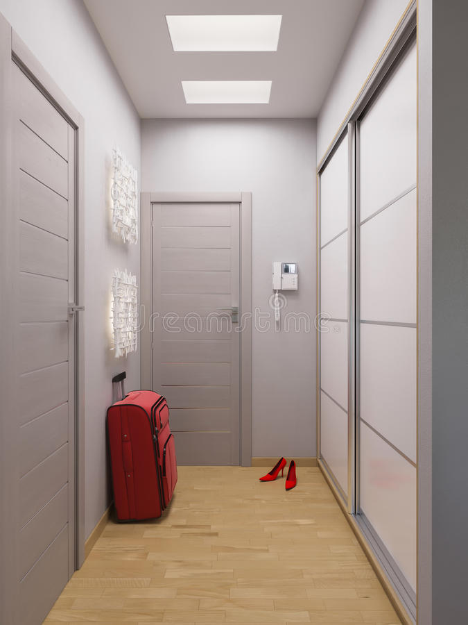 Interior design del corridoio della rappresentazione 3d in for Interior design moderno