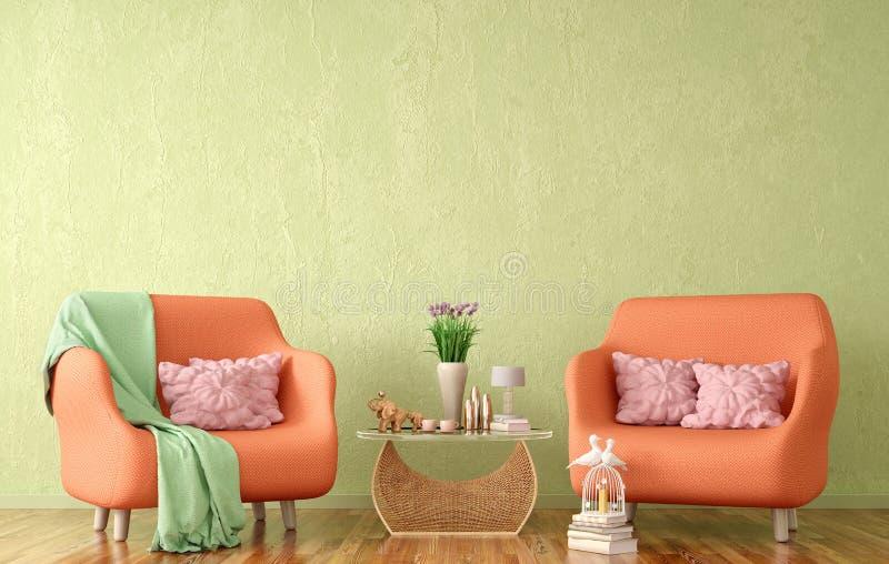Interior design del salone moderno con due poltrone, tavolino da salotto con i libri, rappresentazione 3d illustrazione di stock