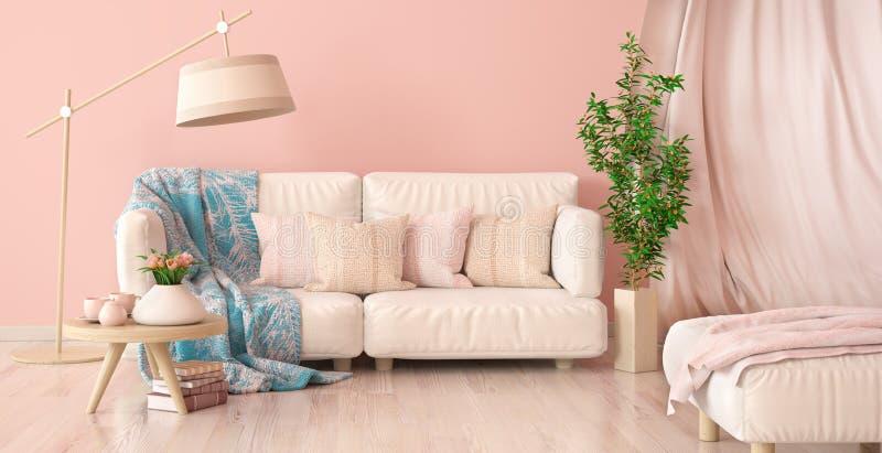 Interior design del salone moderno con il sofà e la tenda, tavolino da salotto con i tulipani, rappresentazione 3d illustrazione vettoriale