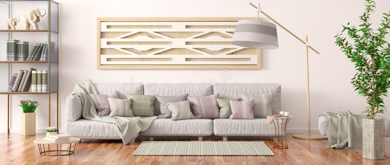 Interior design del salone moderno con il sofà grigio, scaffale per libri con i libri, renderin 3d royalty illustrazione gratis