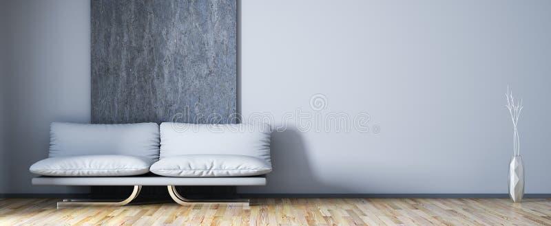 Interior design del salone moderno con la rappresentazione del sofà 3d illustrazione vettoriale
