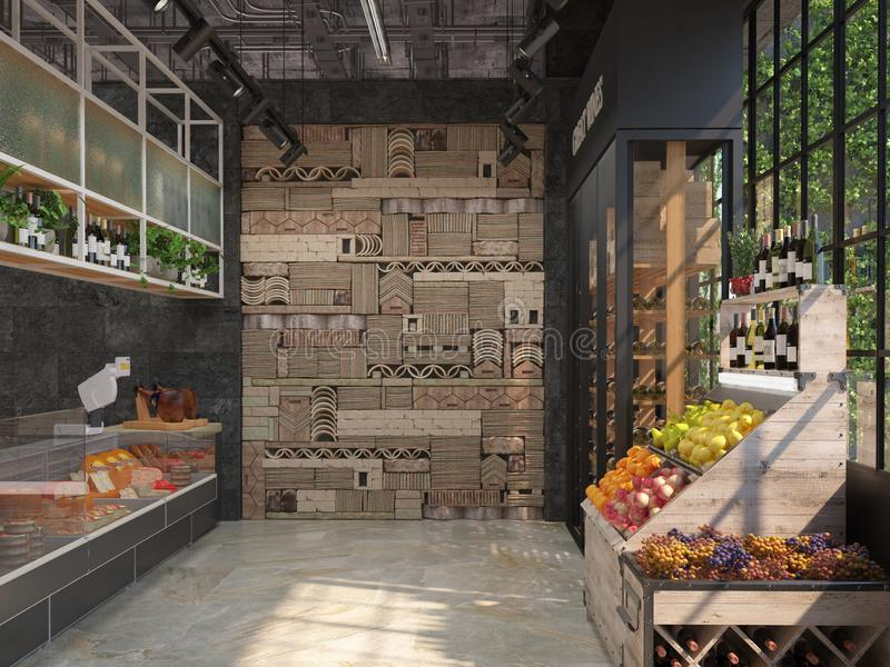 Interior design of a delicatessen grocery store. Loft style. The trading equipment with cheese, wine, fruit. 3D visualization. Interior design of a delicatessen stock illustration