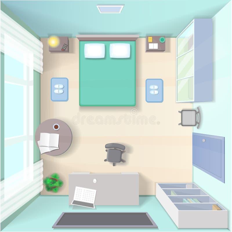 Interior design della camera da letto con il letto, guardaroba, vista del piano d'appoggio realistica illustrazione vettoriale