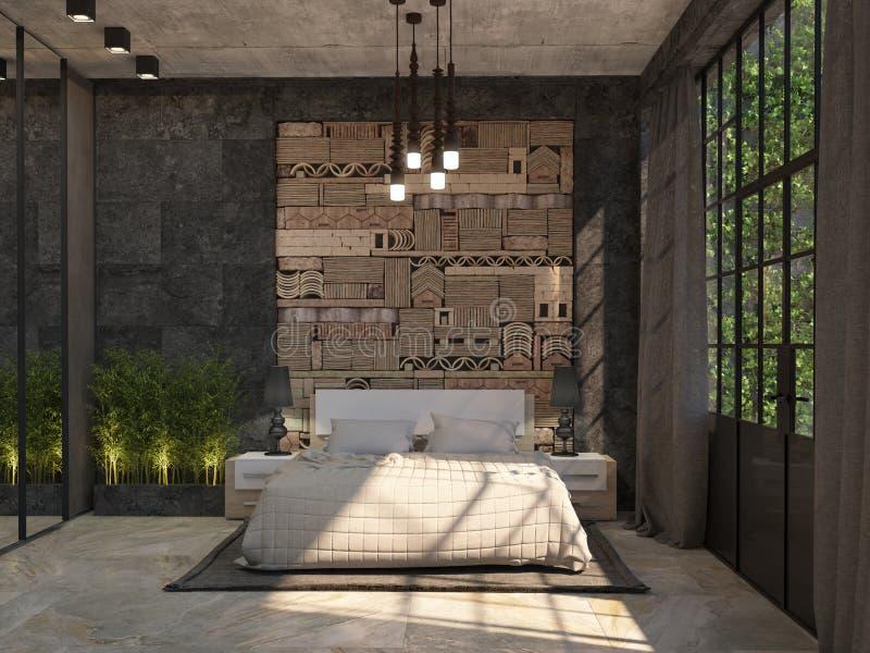 Interior design della camera di albergo con un letto matrimoniale, i comodini, l'armadietto dello specchio e una decorazione sull royalty illustrazione gratis