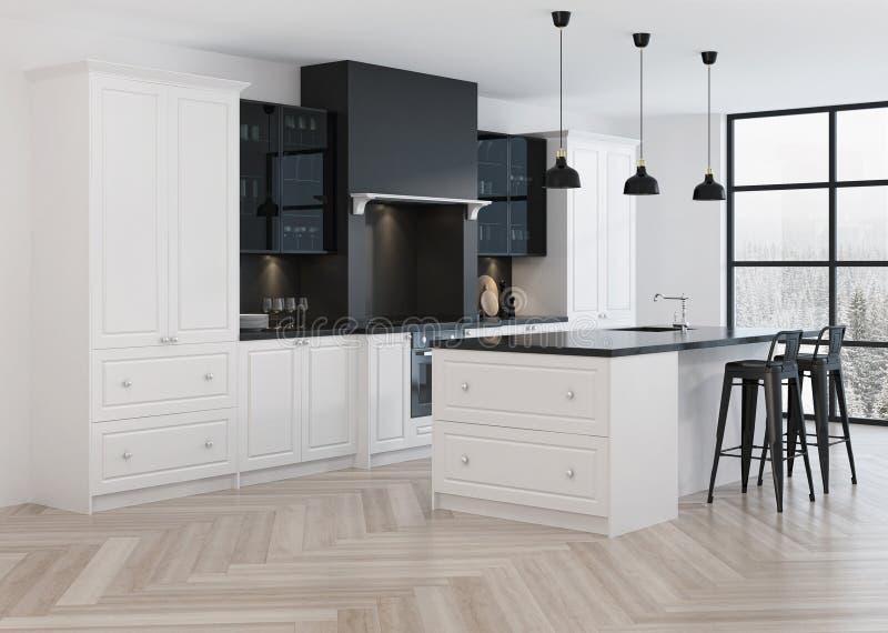 Interior design della cucina nello stile classico illustrazione vettoriale