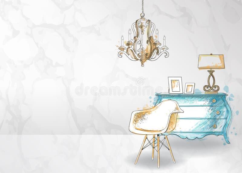 Interior design di mobilia disegnata a mano, appartamento illustrazione vettoriale